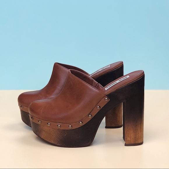 Formación continuar masa  Steve Madden Shoes | Steve Madden Luhna Brown Leather Clog | Poshmark